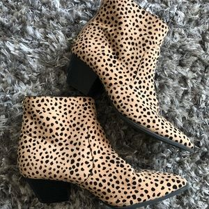 Qupid Tan Dalmatian Print Booties